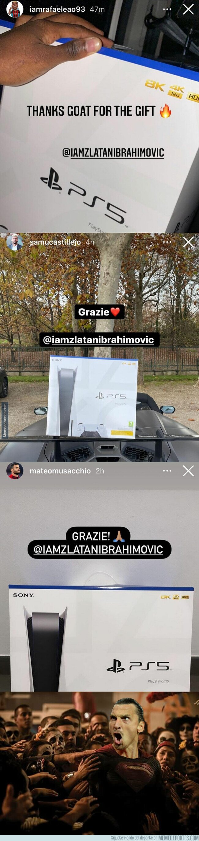 1120762 - Zlatan Ibrahimovic le hace este regalazo a algunos de sus compañeros en el Milan