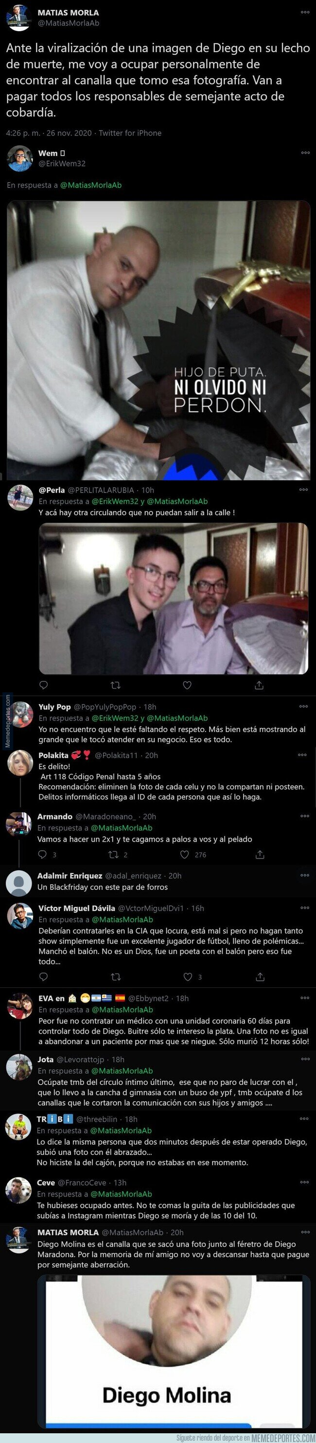 1121270 - Indignación total en Argentina por esta foto que ha aparecido de Maradona muerto dentro del féretro y que su amigo jura venganza contra los que lo han hecho con este mensaje