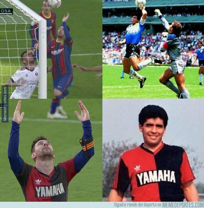 1121451 - Los homenajes de Messi a Maradona ante Osasuna