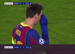 Enlace a La realización del partido se encargó de enfocar a Messi en cada uno de los goles de la Juve