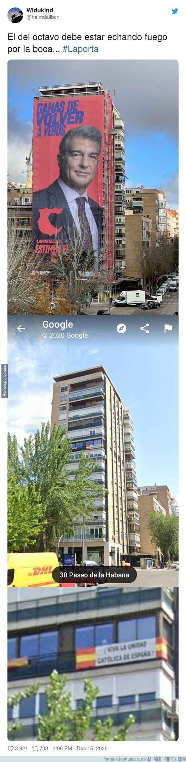 1122945 - Este vecino de al lado de la gran pancarta de Laporta en Madrid no debe estar muy contento