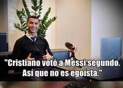 Enlace a Cristiano vota a Messi por primera vez en su carrera, y como no, lo han magnificado a más no poder.