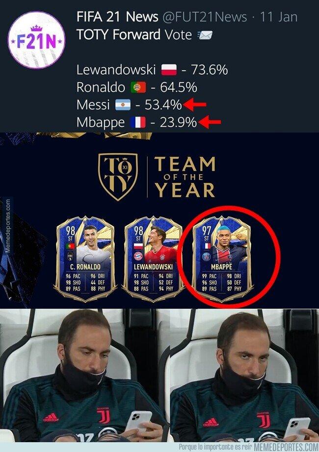 1126203 - Mbappe colado en el 11 del año del FIFA a pesar de tener menos votos que Messi. Y así, una nueva leyenda del marketing ha nacido