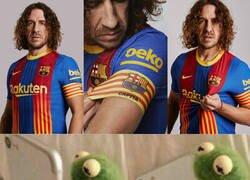 Enlace a Puyol presenta la camiseta del Barça para el próximo Clásico