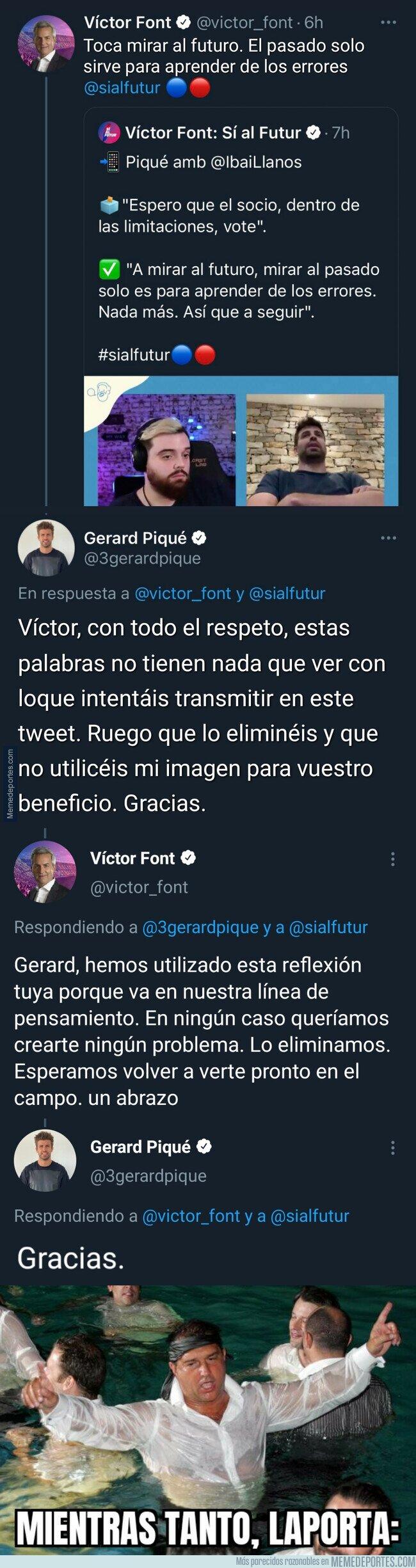1127092 - El cruce de tuits entre Piqué y Víctor Font que podrían hacerle perder las elecciones definitivamente