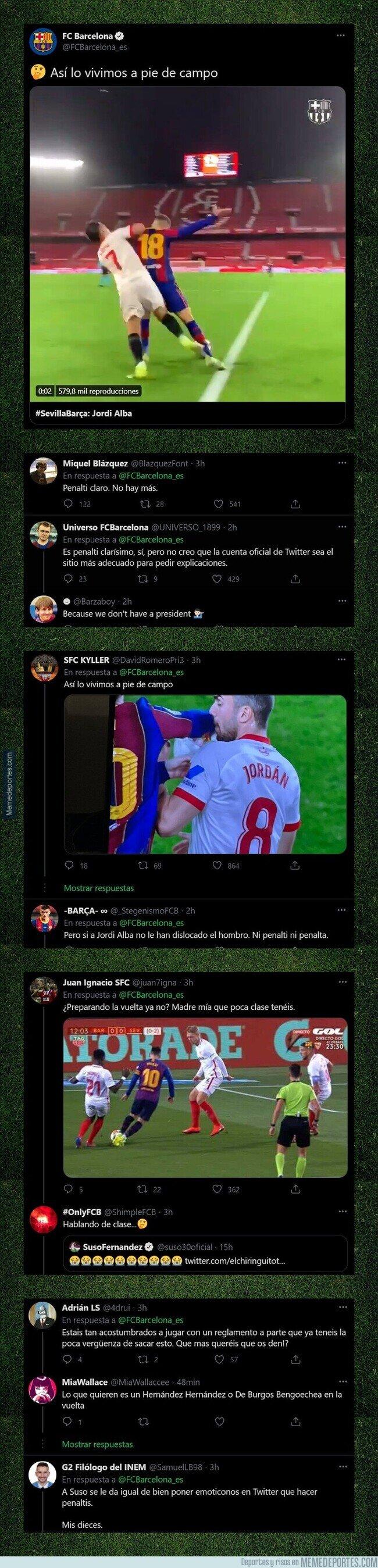 1127533 - El Barça la lía por completo al publicar este tuit después de que el árbitro no pitase penalti en el partido frente al Sevilla