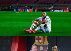 Enlace a Mbappé sentado en el Camp Nou pedía chops a gritos