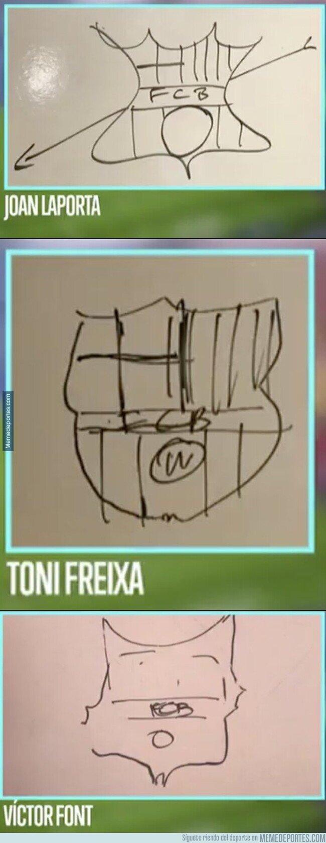1128714 - Les pidieron a los candidatos del Barça dibujar el escudo del club, y bueno...
