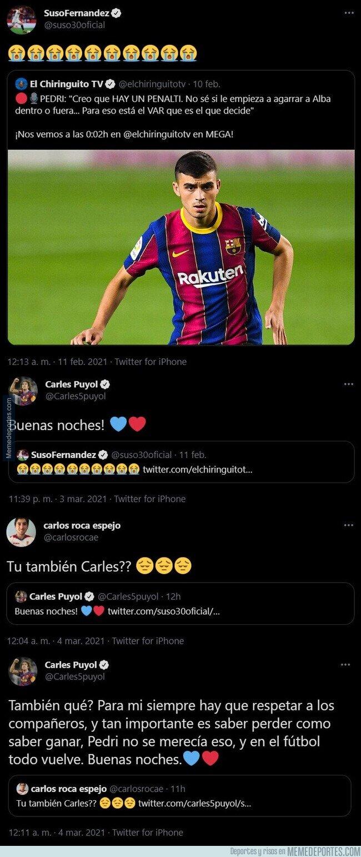 1129307 - El hostiazo descomunal de Carles Puyol a Suso (Sevilla) tras reírse de Pedri en el partido de ida de Copa