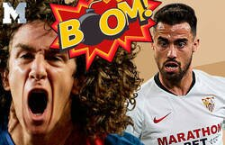 Enlace a El hostiazo descomunal de Carles Puyol a Suso (Sevilla) tras reírse de Pedri en el partido de ida de Copa