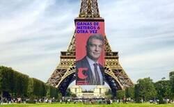 Enlace a Laporta colgando de la Torre Eiffel