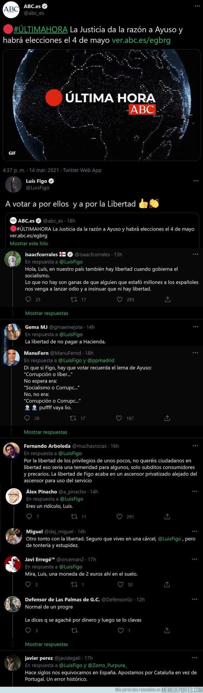1130290 - Luis Figo la lía por completo al tuitear esto tras convocarse elecciones en Madrid