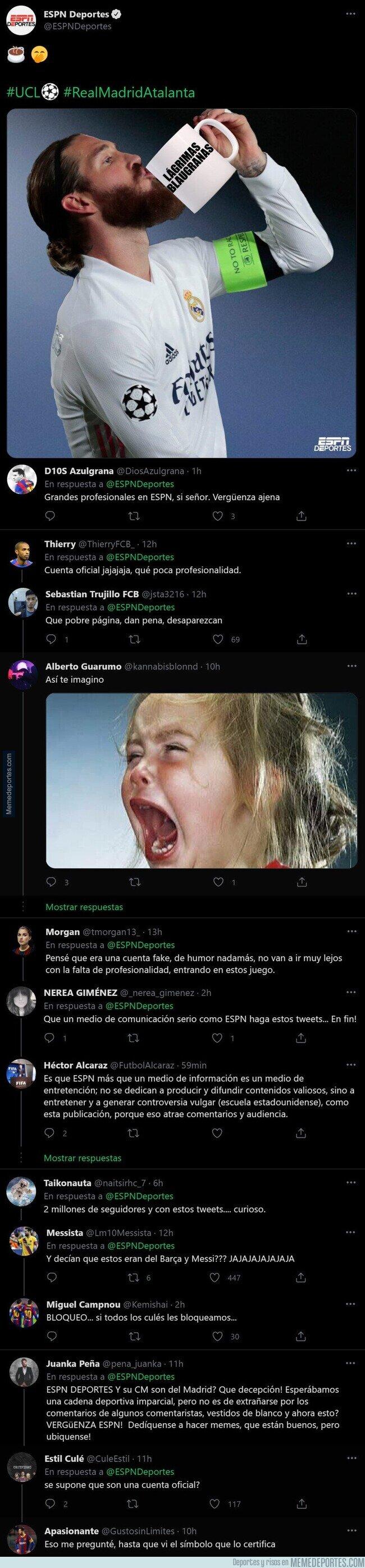 1130439 - El meme que ha subido la ESPN sobre Sergio Ramos por el que todos los culés están rabiando de lo lindo