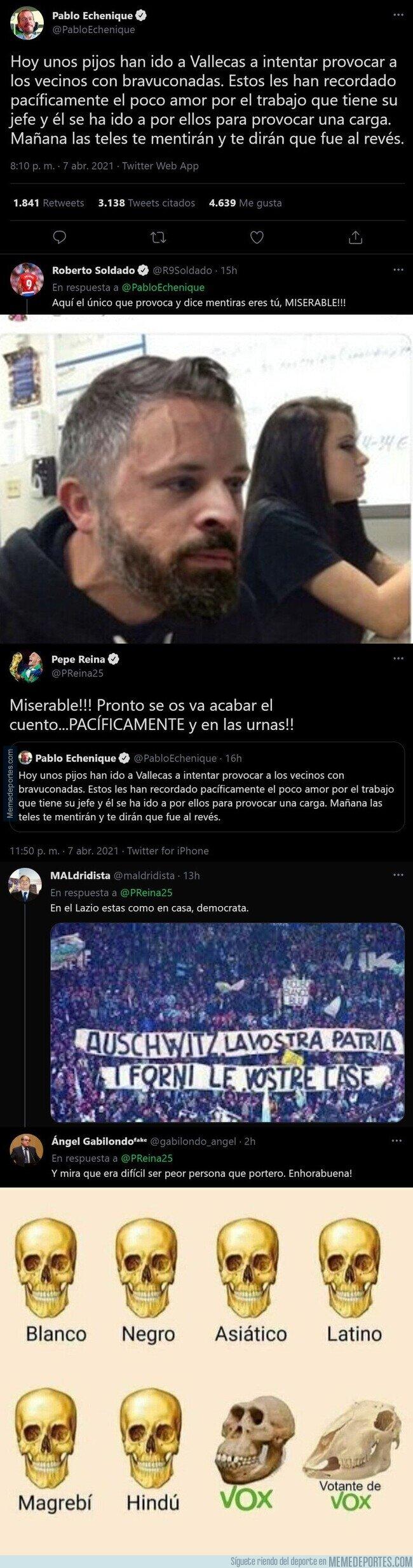 1131999 - Pepe Reina y Roberto Soldado cargan duramente contra Pablo Echenique con este mensaje insultándole