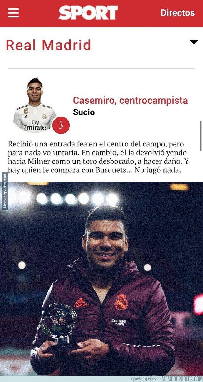 1132695 - La basura de crítica del diario 'SPORT' llena de odio hacia Casemiro y que encima fue elegido MVP del partido