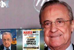 Enlace a El ZASCA monumental de Florentino Pérez al Diario MARCA tras sacar una portada crítica a la Superliga