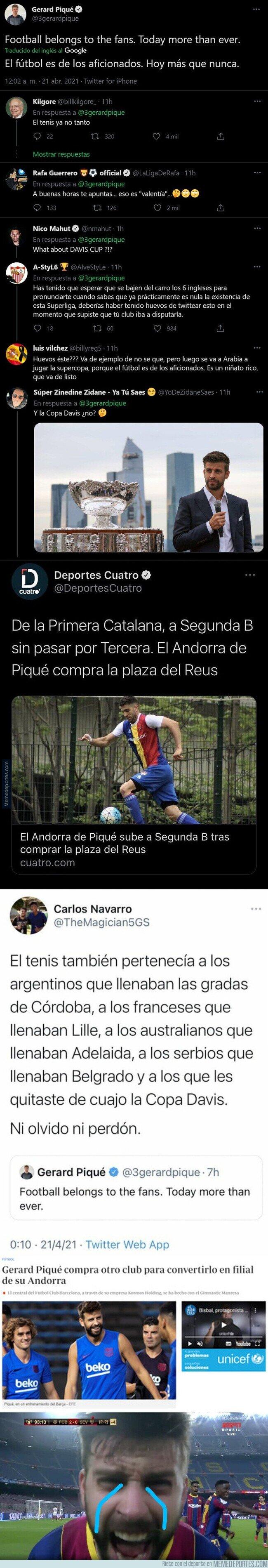 1133275 - Piqué está recibiendo h*stias de todo el mundo en forma de respuestas tras escribir este mensaje sobre la Superliga por su hipocresía