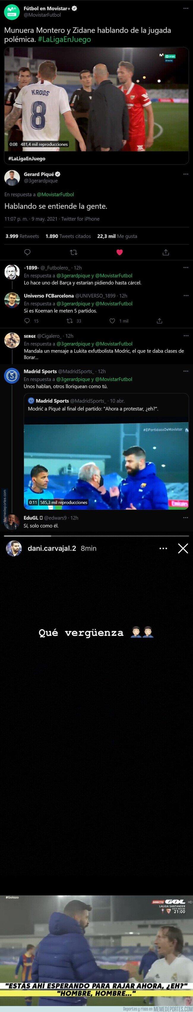 1134780 - La sacada monumental de Piqué en esta respuesta tras ver a Zidane quejándose al árbitro por la mano de Militao