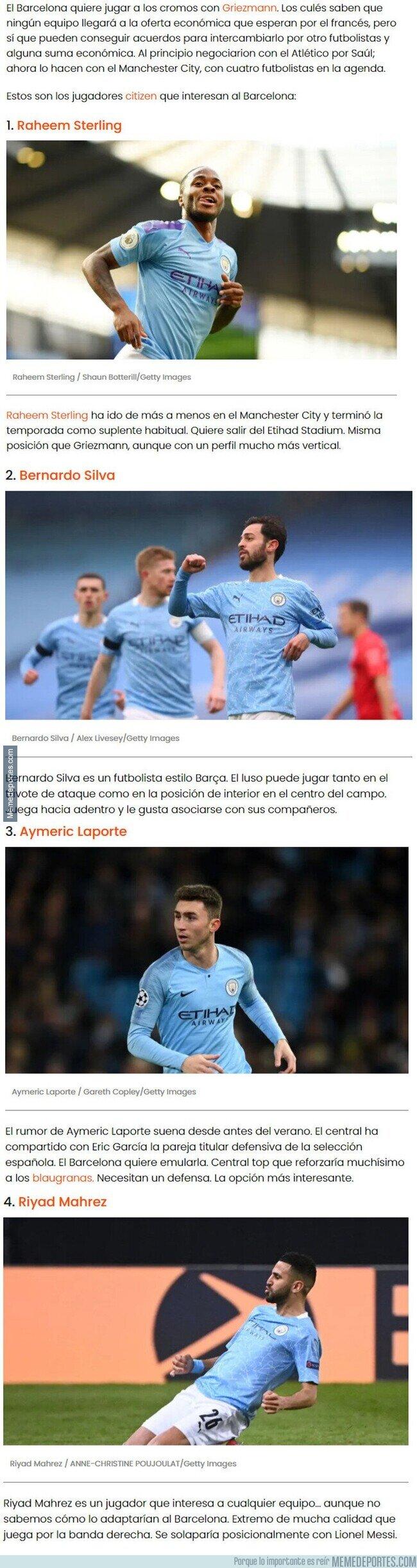 1140402 - Estos son los futbolistas del Manchester City que interesan al Barcelona y podrían cambiar por Griezmann