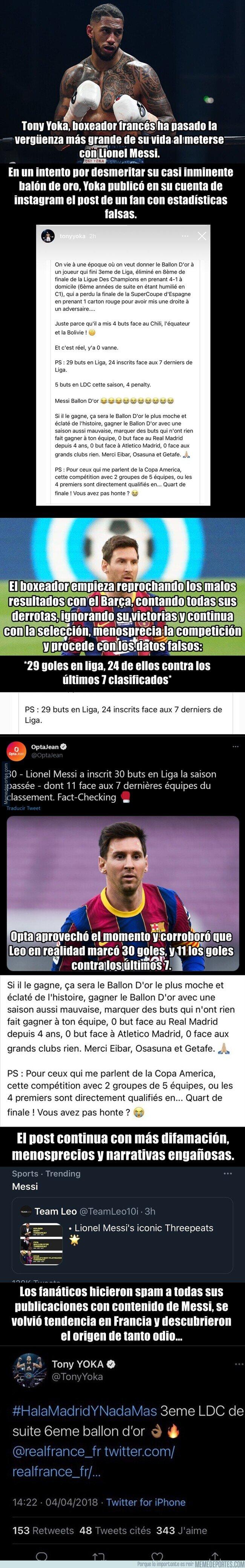 1140653 - Un boxeador francés, hater de Messi se lleva una lección de humildad por menospreciarle con estos datos