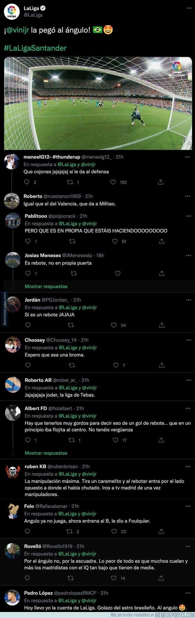 1145049 - Nadie se puede creer lo que ha tuiteado 'LaLiga' tras el último gol de Vinicius de rebote