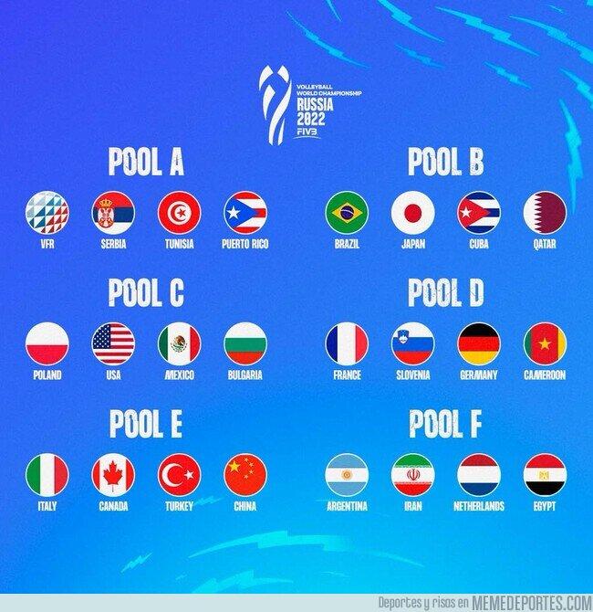 1145722 - Sorteados los grupos del mundial de Volleyball Rusia 2022