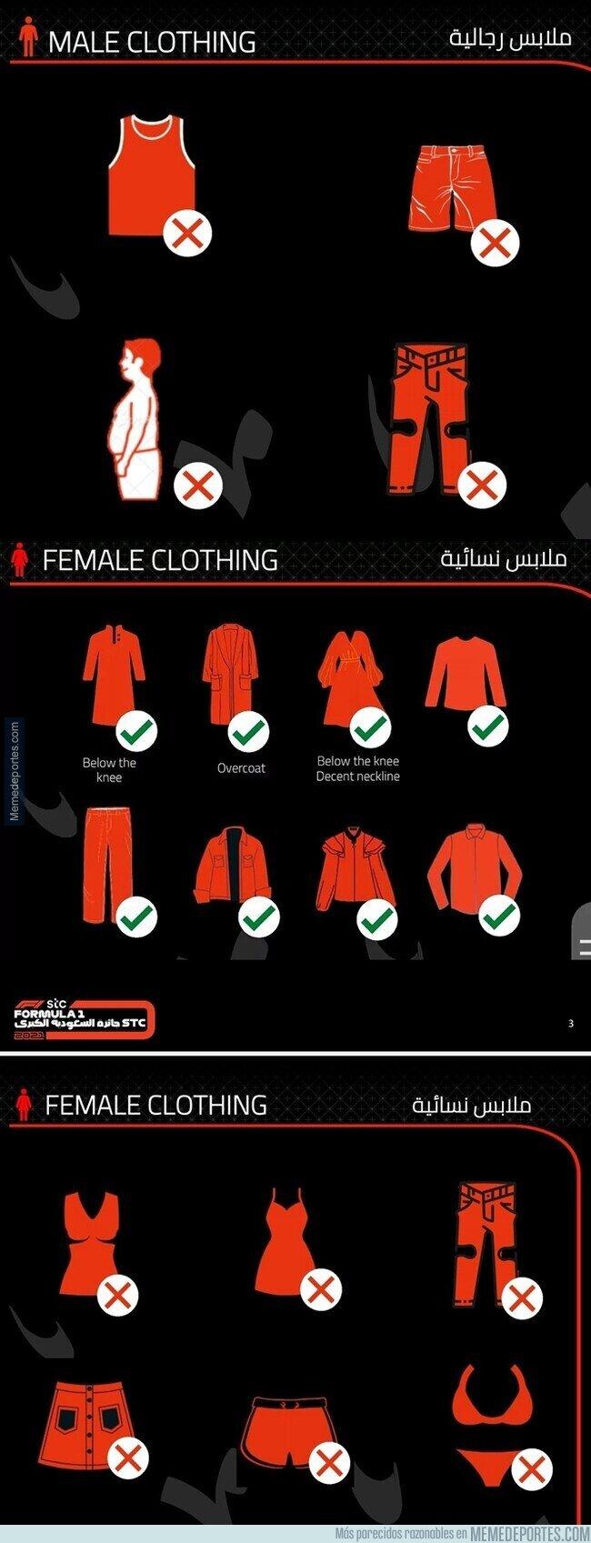 1146917 - Polémica en Arabia Saudí después de que publicaran que tipo de ropa esta prohibida para el Gran Circo y F2