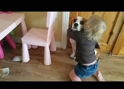 Enlace a La dulce niña que abraza a su perro pese a tirar su taza con comida