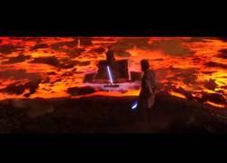 Enlace a La gran pelea entre Obi Wan y Anakin Skywalker doblada en japonés por Google Translate