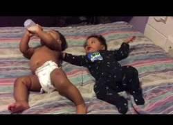 Enlace a Dos bebés y un biberón