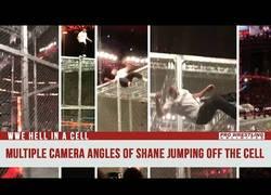 Enlace a El espectacular salto desde todo lo alto de la jaula de Shane McMahon