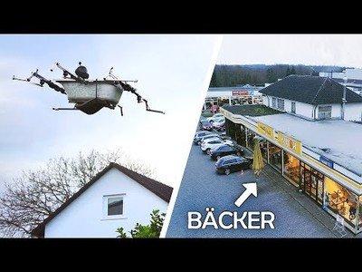 Inventan un drone volador con forma de bañera para ir al super de compras