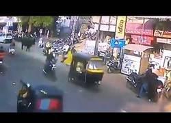 Enlace a Toro embiste brutalmente a mujer en calle de la India