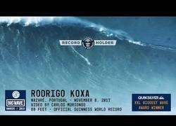 Enlace a Rodrigo Koxa logra en Nazaré surfear la ola más grande jamás surfeada