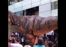 Enlace a El animatronic en forma de Tyrannosaurus Rex que da realmente miedo