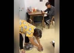 Enlace a Troleando a una madre mientras hacía las tareas de limpiar