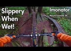 Enlace a Descenso de la montaña en bicicleta con la madera mojada