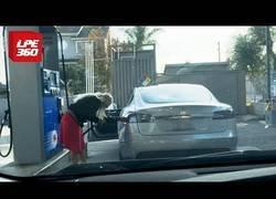 Enlace a Mujer intenta recargar su Tesla con gasolina