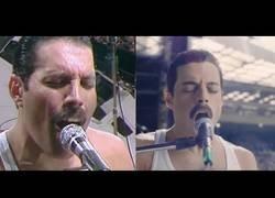 Enlace a Comparativa entre Freddie Mercury y Remi Malek interpretando la misma canción en el mítico concierto de Queen