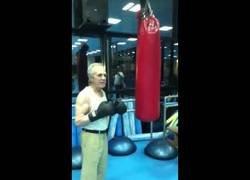 Enlace a Eder Jofre, ex campeón de boxeo con 77 años y así golpea el saco