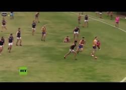 Enlace a Niña se cuela en campo de fútbol australiano y jugador la salva
