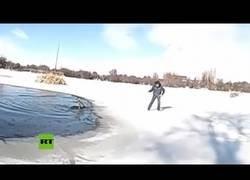 Enlace a Rescatan a un ciervo de un estanque helado