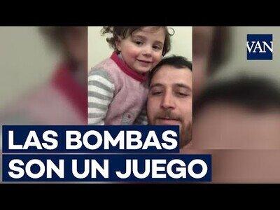 Un padre sirio hace ver que las bombas son un juego para hacer feliz a su hija