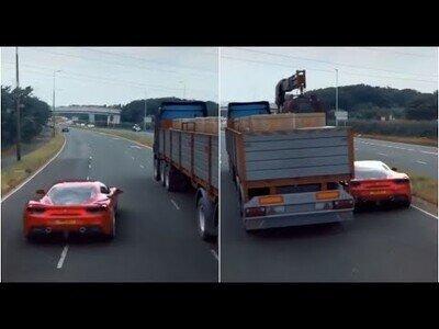 Increíble automóvil ejecuta una arriesgada maniobra para pasar por debajo de un camión