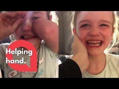 La reacción de esta niña de 6 años al decirle que ya tienen el dinero para su prótesis