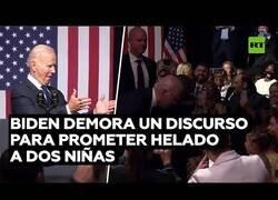 Enlace a Biden interrumpe su discurso para prometer helado a dos niñas