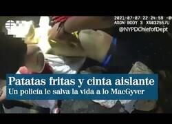 Enlace a Un policía salva a un hombre con una bolsa de patatas y cinta aislante a lo MacGyver