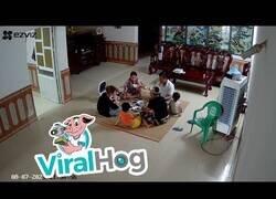 Enlace a Un ventilador de techo le cae encima a una familia mientras comía