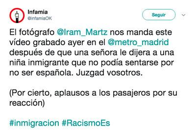 492564 - Una mujer racista la lía en el metro de Madrid prohibiendo a una niña sentarse por ser inmigrante, por @infamiaOK