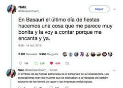Enlace a La tradición en este pueblo vasco en sus fiestas que ha conquistado internet y que nos recuerda a la peli de UP, por @blackpantheerr_